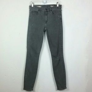 GAP True Skinny Grey Distressed Jeans Denim 28